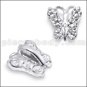 925 Sterling Silver Jeweled Butterfly Pendant
