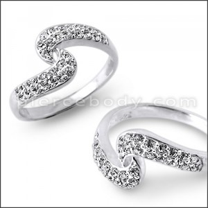 CZ Jeweled Curved Fashion Silver Ring