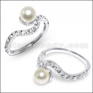 CZ Jeweled Curved Fashionable Pearl Studded Silver Ring
