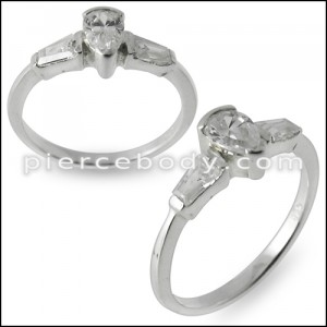 Jeweled CZ Fashion Thin Finger Silver Ring