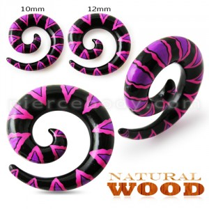 Colorful Painted Spiral Wood Ear Stretchers