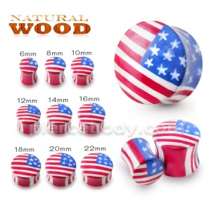 American Flag Wood Ear Plug