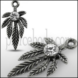 Clear Jeweled Marijuna Leaf Pendant