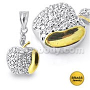 Micro Setting Jeweled Apple Pendant