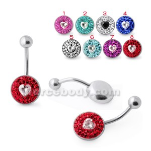 SS Multi Crystal Stone Navel Ring