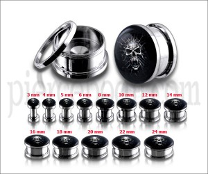 Fancy Mummy Skull Logo With SS Screw Fit Ear Tunnel