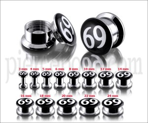 SS Internal Screw Fit With #69 Logo Ear Tunnel