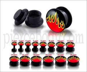 Black UV Internal Flame logo With Screw Fit Ear Tunnel