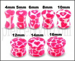 UV Double Flared Pink Heart Ear Plug