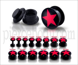 Black UV Internal red Star Logo With Screw Fit Ear Tunnel