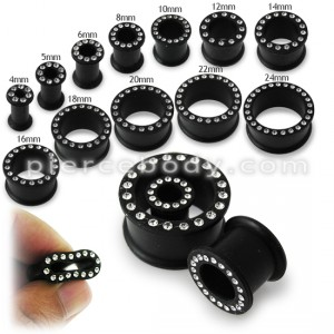 Multi Jeweled Black Silicone Ear Plug