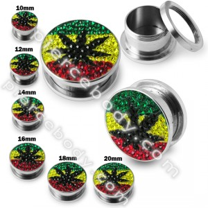 Weed Marijuana Crystal stone Flesh Tunnel
