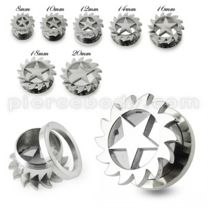 Star Saw Blade Screw Fit Flesh Tunnel