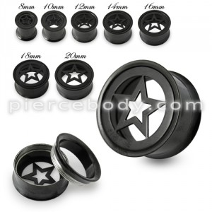 Black Star Plate Top Screw Fit Flesh Tunnel