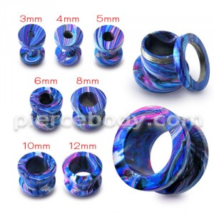 Blue Painted Screw Fit Flesh Tunnel