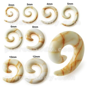 Marble Colorful Spiral Ear Taper  Expander Body Jewelry