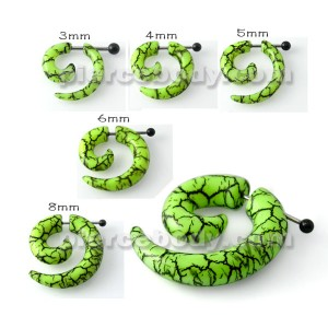Surgical Steel & UV Spiral Marble Fake Ear Plug