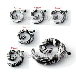 Zebra Black White Fake Cheater Plugs Spirals