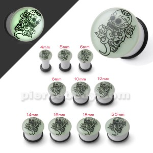 Glow In The Dark UV Skull Ear Plug