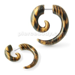 Wooden Color Spiral Fake Ear Plug