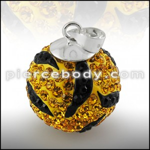 Yellow And Black Crystal stone Studded Silver Zebra Pendent