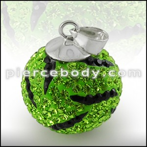 Green And Black Crystal stone Silver Zebra Pendent ZPN062