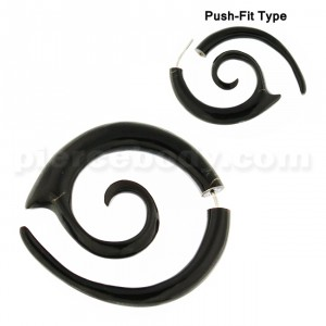 Organic Horn Long Spiral 5 mm Fake Ear Plug Gauges