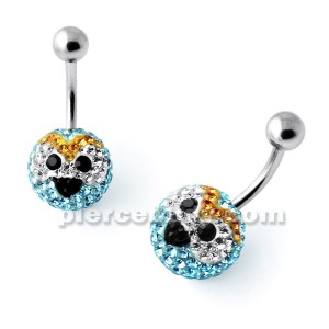 Multi Crystal stone THE BLUES Angry Bird Navel Ring
