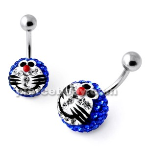 Multi Crystal stone Blue Doraemon Navel Ring