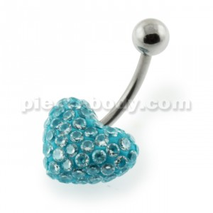 Multi Jeweled Genuine CZ in Aqua Heart belly piercing