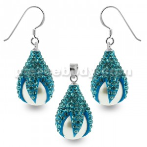 Multi Aqua Crystals Dragon Claw Setting over Synthetic Pearl 925 Sterling Silver Set Jewelry