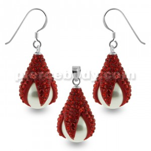 Multi Red Crystals Dragon Claw Setting over Synthetic Pearl 925 Sterling Silver Set Jewelry