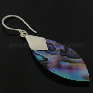 925 Sterling Silver Long Oval Mother Of Pearl Ear Ring
