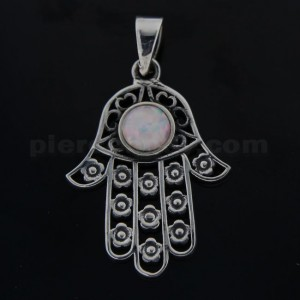 925 Sterling Silver Hand of Fatima with Flowers and White Opal Pendant