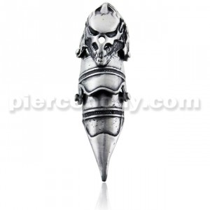 Full Finger Pewter Predator Skull Armor Ring
