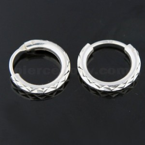 925 Sterling Silver 12 mm Laser Cut Round Hoop Earring