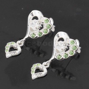 Dangling Jeweled Heart 925 Sterling Silver Ear Stud Ear Ring