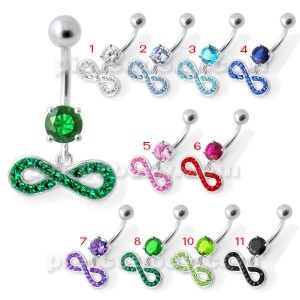 Infinity Sign Jeweled Belly Ring