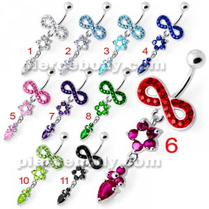 Jeweled Infinity Flower Dangling Navel belly bar