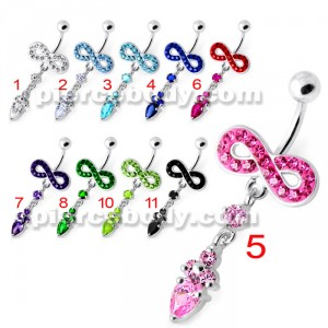 Jeweled Infinity Dangling Navel belly bar