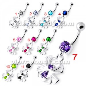 Dangling Spider Silver Navel Belly Bar