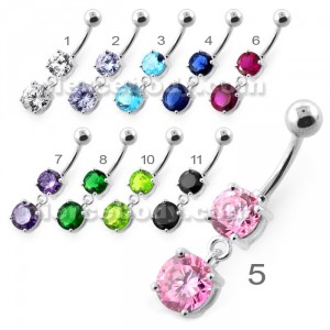 Round Jeweled Hanging Navel Belly Bar