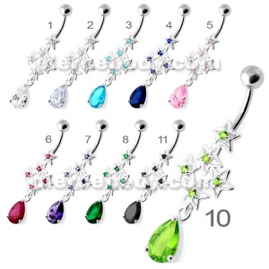 Multi Sparkling Jeweled Stars Navel Belly Ring