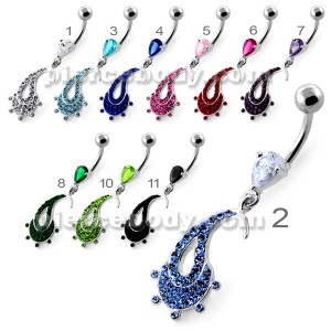Multi Jeweled Hanging Fish Navel Belly Ring