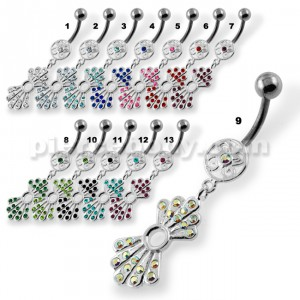 Multi Jeweled Rays Belly Button Rings