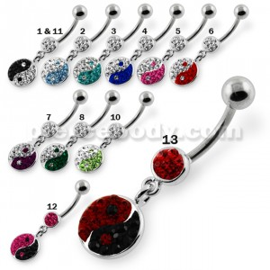 Multi Jeweled Ying Yang Navel Belly Piercing