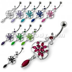 Flower in a open Pot Navel Belly Piercing
