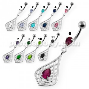 Tear Shape Cut out with Tear Gem Navel Belly Button Piercing
