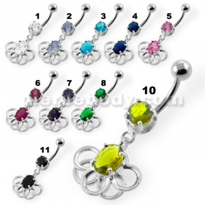 Rings around the Round Stone Navel Belly Button Piercing