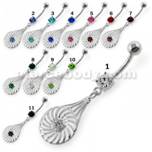 Dangling Jeweled Swirl Flower Navel Belly Button Piercing